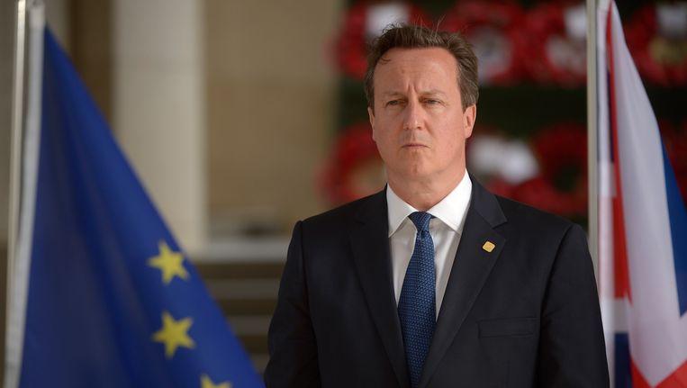 De Britse premier Cameron gisteren in Ieper. Beeld belga