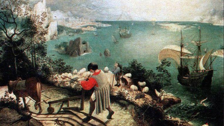 Het schilderij 'De val van Icarus' Beeld