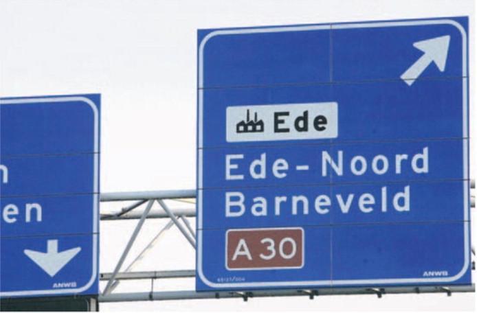 De afslag naar Ede-Noord en Barneveld op de A30.