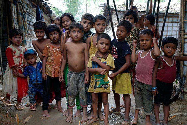 Rohingyakinderen in een vluchtelingenkamp in Bangladesh.