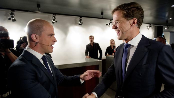 Samsom en Rutte vlak voor het debat.