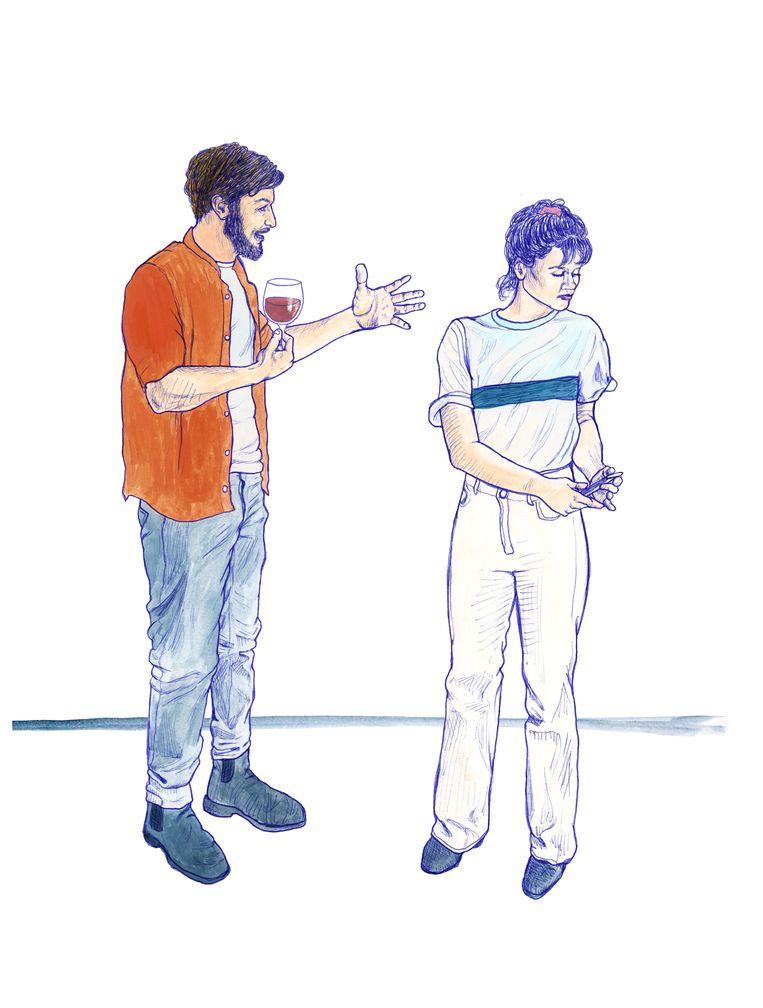 Je kunt het beste vroeg op een feestje aankomen als je smalltalk lastig vindt. Beeld Ted Struwer