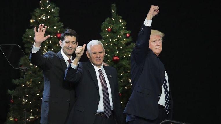 Donald Trump dinsdag tijdens een bijeenkomst in Wisconsin. Beeld Getty