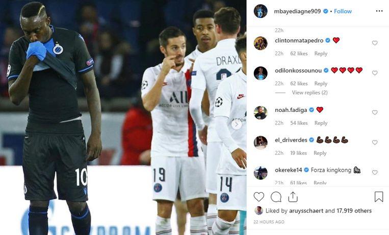 Diagne kreeg op Instagram steun van sommige ploegmaats.
