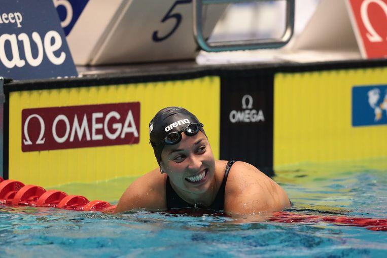 Een grote grijns nadat Kromowidjojo deze week haar wereldrecord op de 50 meter korte baan had teruggepakt. Beeld Getty Images For FINA
