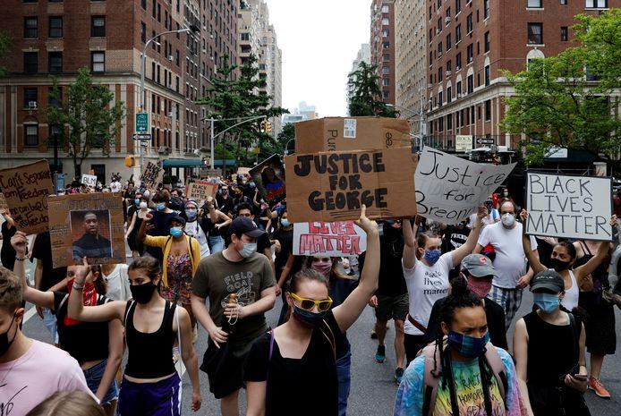 Protest in New York naar aanleiding van de dood van George Floyd.