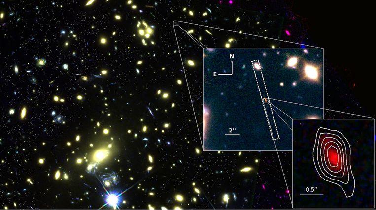 Galaxy MACS1149-JD1 is 13,28 miljard lichtjaren van ons verwijderd.