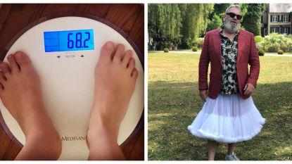 SHOWBITS. Lesley-Ann Poppe is al 26 kilo kwijt en Wim Opbrouck draagt een rokje