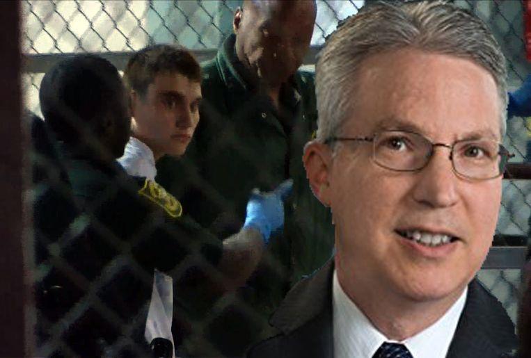 Een beeld van Nikolas Cruz, terwijl hij naar de gevangenis in Fort Lauderdale wordt overgebracht. Rechts de Amerikaanse psycholoog Peter Langman.