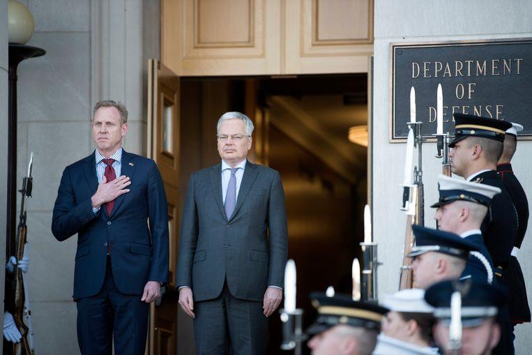 Amerikaans minister van Defensie ad interim, Patrick Shanahan, en de Belgische Defensieminister Didier Reynders in Washington.