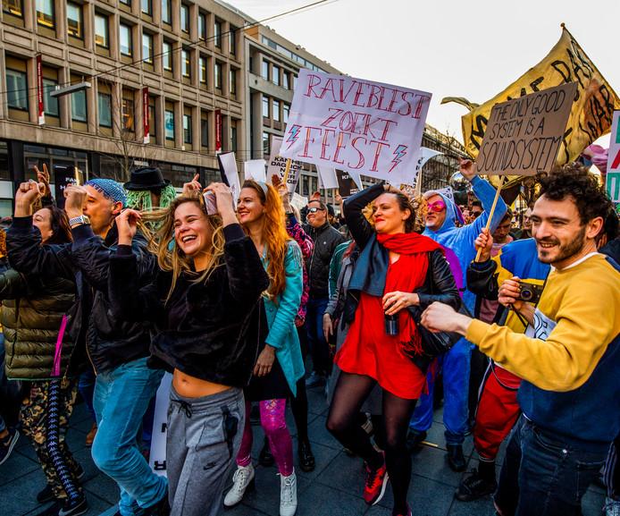 De demonstratie voor een beter nachtleven, vorig jaar februari, op het Stadhuisplein in Rotterdam.