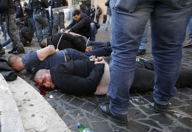 Feyenoord-supporters in Rome. Beeld ap