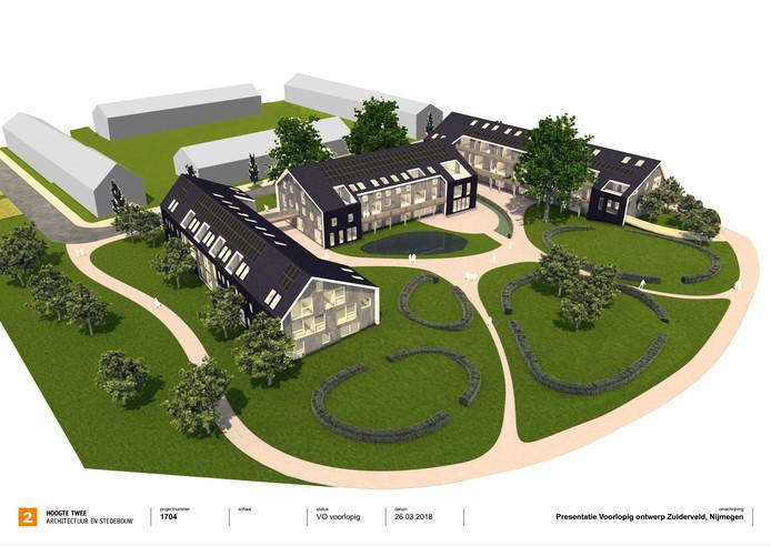 Schets van de nieuwe ecowijk in Nijmegen-Noord.