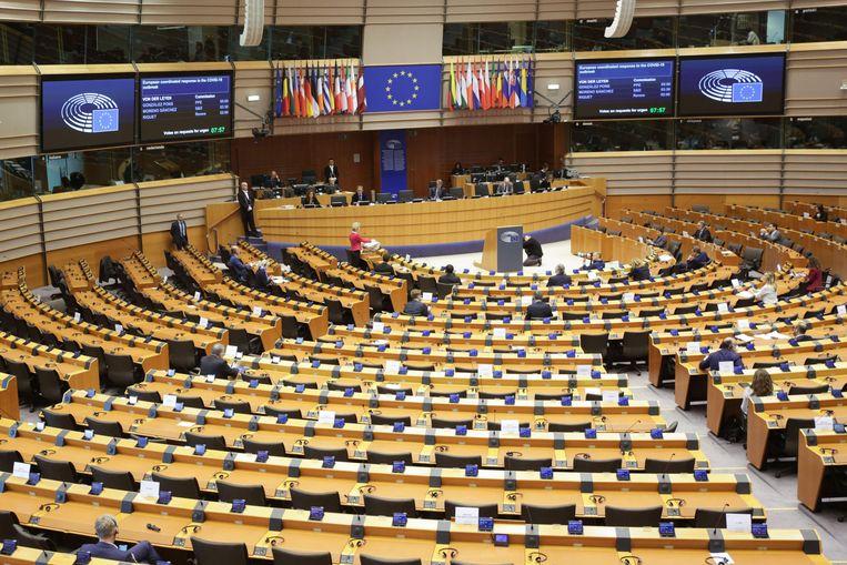 Het bijna lege Europese Parlement in Brussel.