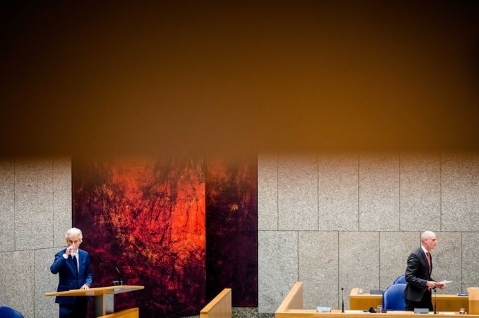 Geert Wilders (PVV) en Minister Stef Blok van Buitenlandse Zaken (VVD) in de Tweede Kamer.
