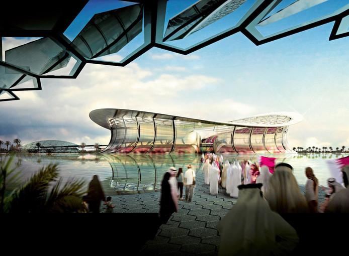 Het Lusail Iconic Stadium, een van de WK-stadions voor het WK 2022 in Qatar.