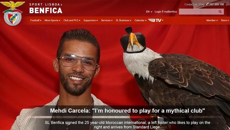 Carcela wordt op de website van Benfica meteen afgebeeld naast het clubicoon, de adelaar.