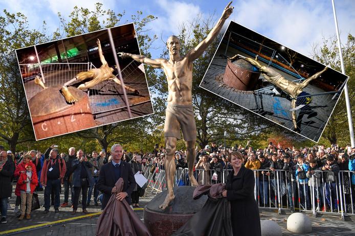 Het standbeeld van Zlartan werd op 8 oktober in Malmo onthuld, maar is na diverse beschadigingen nu echt van zijn sokkel getrokken.