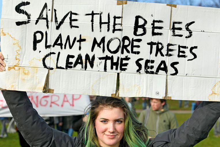 De klimaatdemonstratie in Den Haag, 7 februari 2019. Beeld  Guus Dubbelman