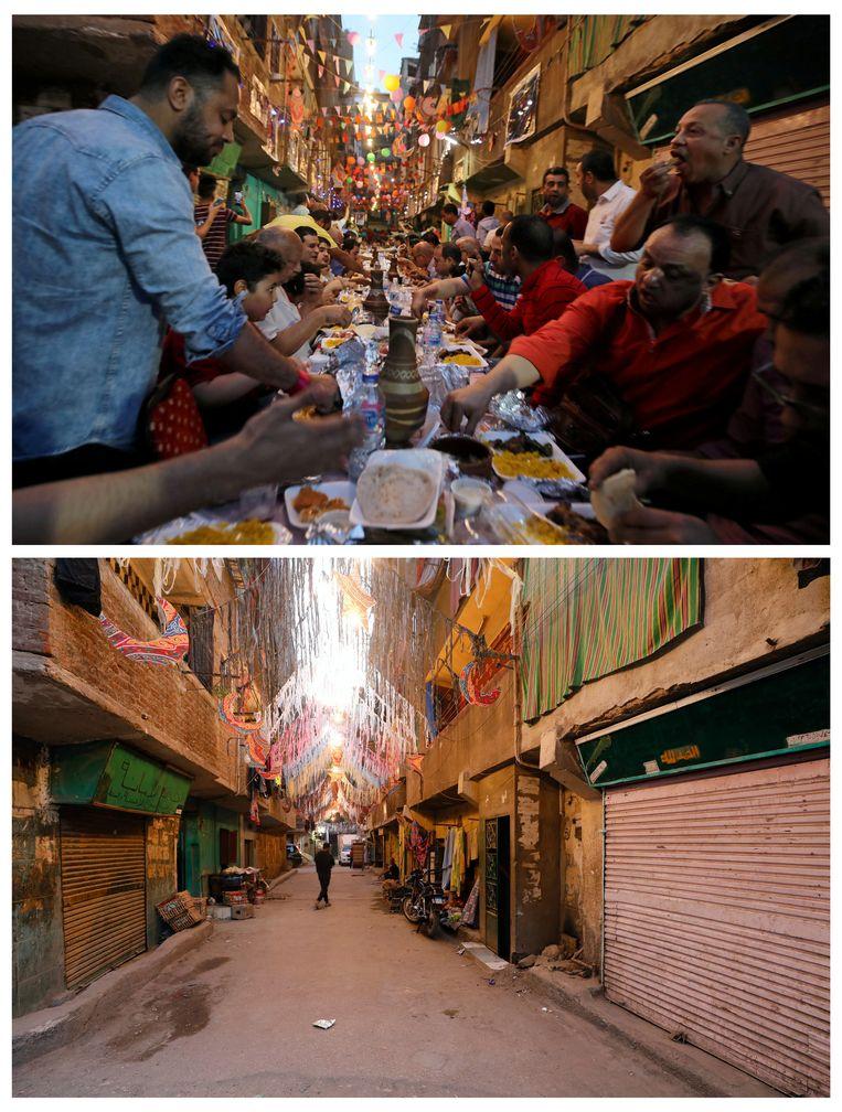 Dezelfde straat in de wijk Mataria in Caïro vorig jaar (boven) en dit jaar (onder). Vorig jaar aten inwoners hun iftar gezamenlijk aan lange tafels. Dit jaar is dat verboden.  Beeld REUTERS