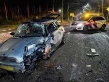 Brokstukken bezaaid over de weg in Moergestel nadat auto tegen boom botst door gladheid