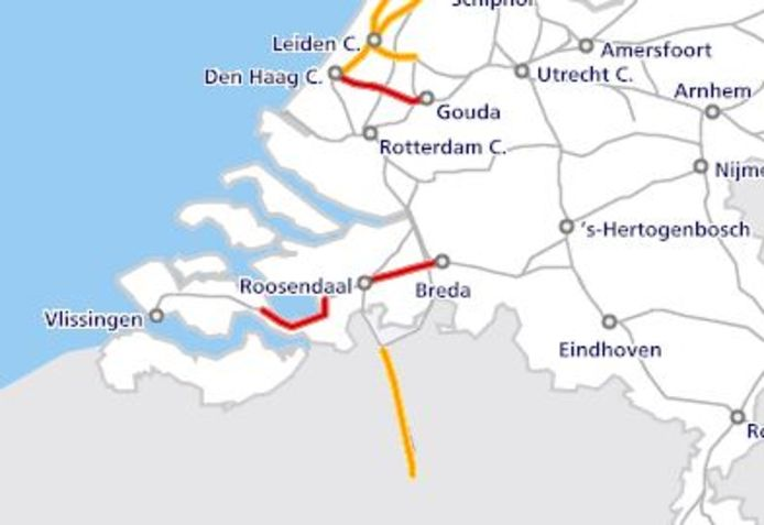 De situatie op het spoor om 10.30 uur. Op de kaart hieronder zie je de actuele situatie.