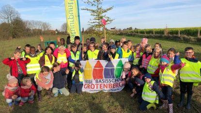 Tweedeklassers VBS Grotenberge planten bomen in Steenbergse Bossen