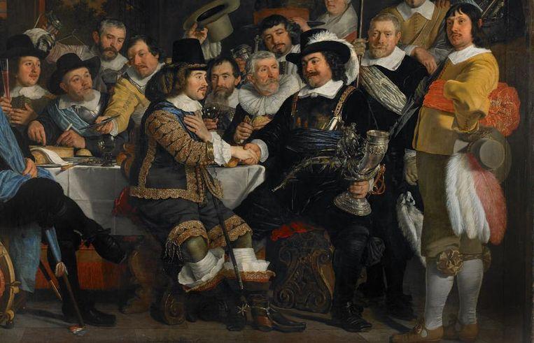 Handdruk op een schilderij uit 1648 van Bartholomeus van der Helst. Beeld  Rijksmuseum