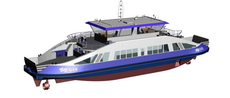 Het hybride 'IJ-veer 60' kan acht keer op en neer over het IJ op één batterijlading. Beeld Holland Shipyard