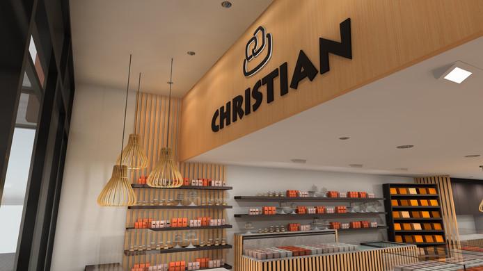 Het doek met de naam 'Christian' verdwijnt van de gevel. In plaats daarvan komt de naam terug ín de zaak.