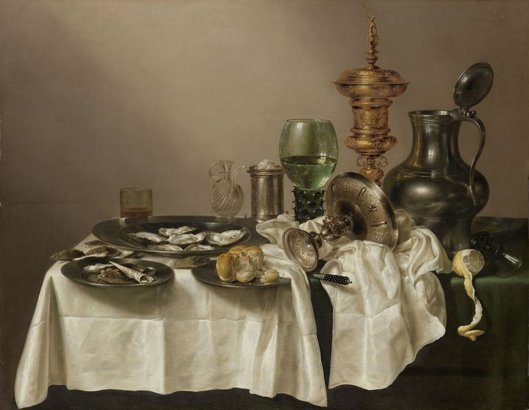 'Stilleven met vergulde bokaal', Willem Claesz. Heda, 1635. Beeld