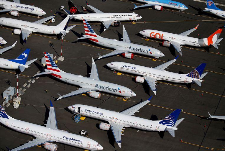 De Boeing 737 MAX-toestellen werden aan de grond gehouden nadat eind 2018 en begin 2019 twee toestellen waren neergestort.  Beeld Reuters