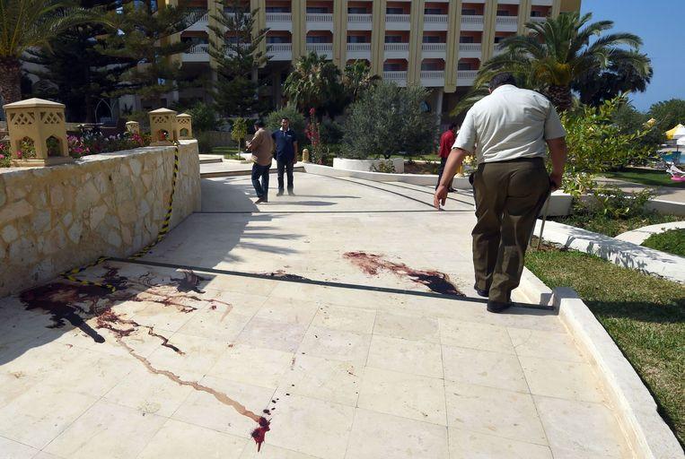 Bloedsporen voor het hotel Beeld anp
