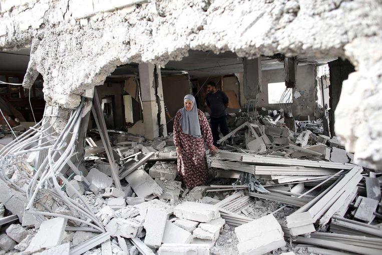 Het gesloopte huis van een van de militanten.
