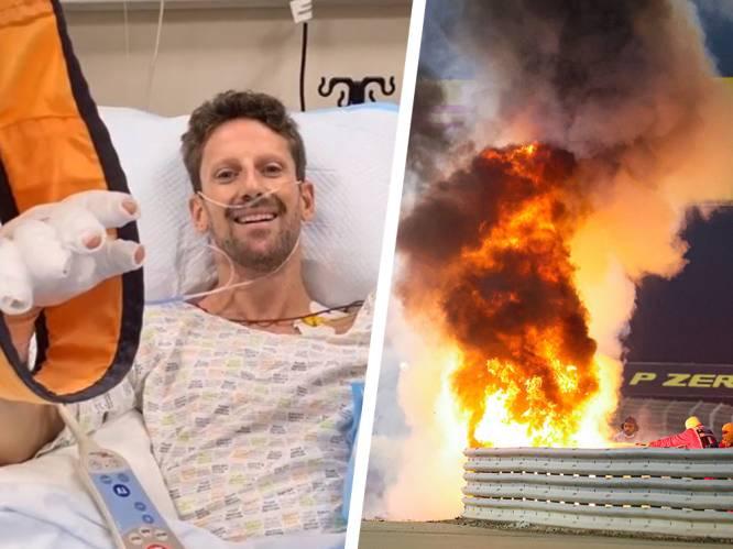 """Grosjean reageert vanuit het ziekenhuis op crash: """"Zonder de halo had ik jullie nu niet kunnen spreken"""""""