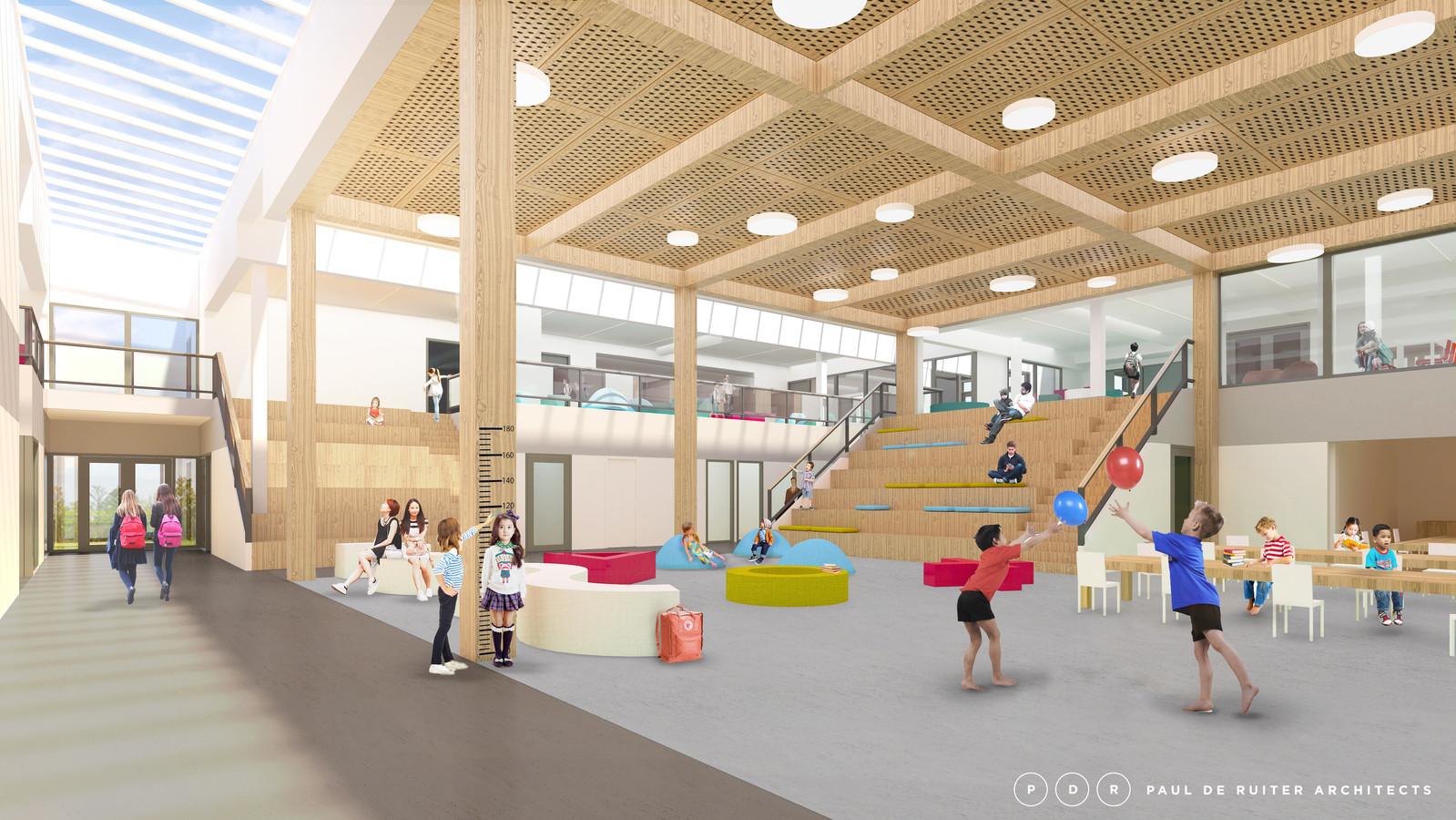 Impressie van de nieuwbouw van Campus aan de Lanen in De Groote Wielen in Rosmalen.
