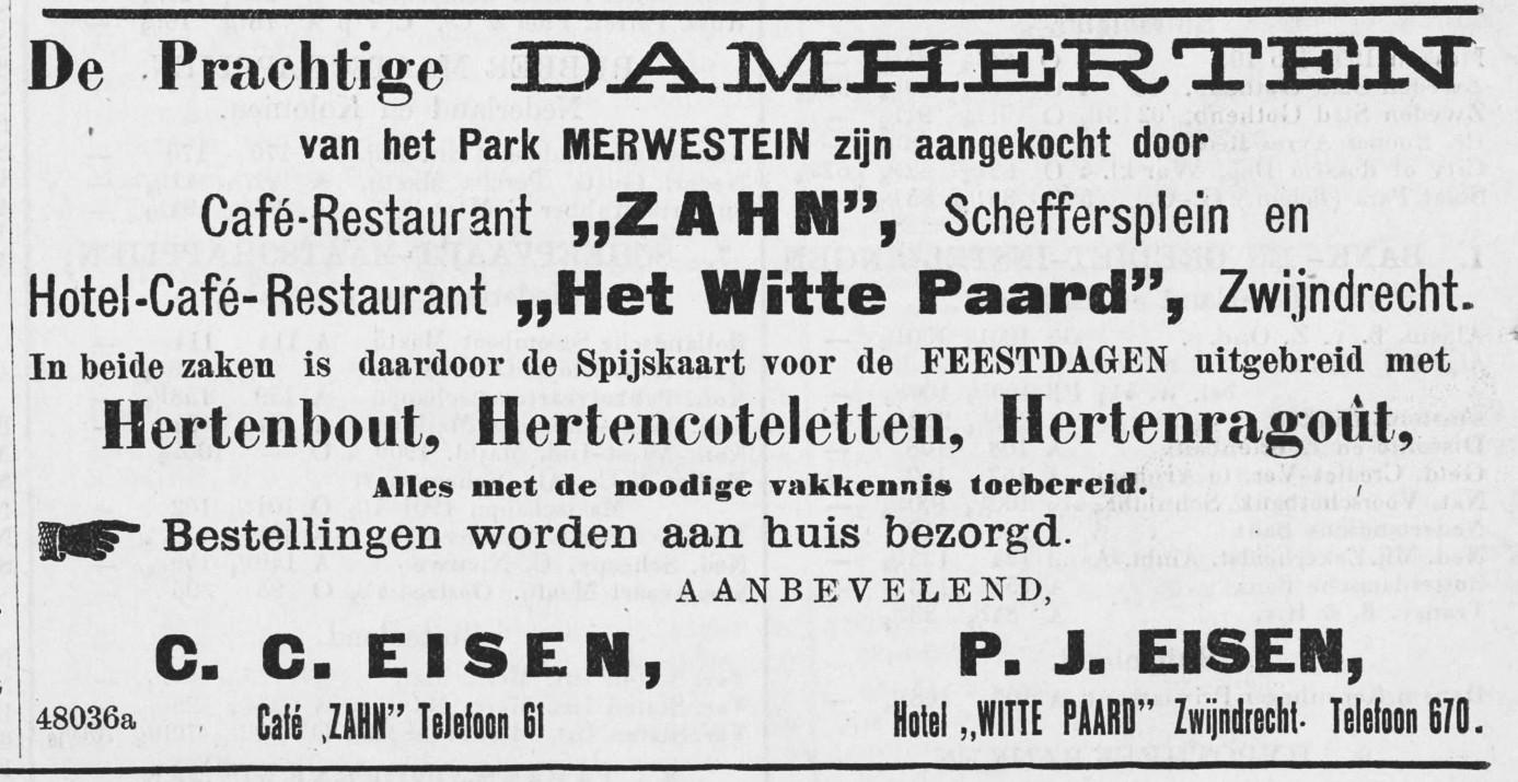 De advertentie van Zahn en het Witte Paar in december 1909.