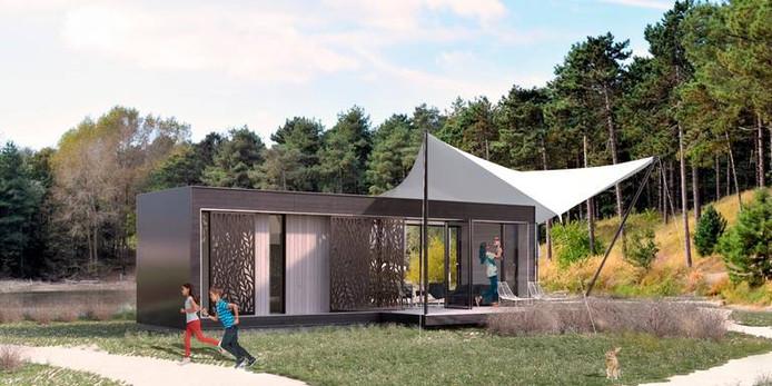 Het ontwerp voor de tiny houses die Groninger Huis in Estland laat bouwen.