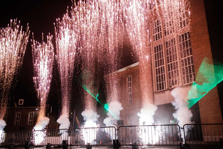 Diervriendelijk vuurwerk op het Stadsplein in Mortsel.