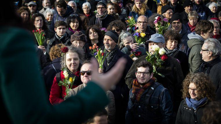 Joden en moslims tijdens een zogenoemde solidariteitswandeling eerder dit jaar. Beeld anp