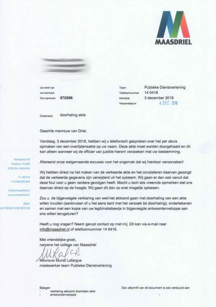 Brief van gemeente Maasdriel