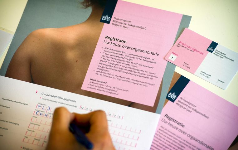 Registratieformulier voor donorregistratie van het ministerie van volksgezondheid, welzijn en sport. Beeld anp