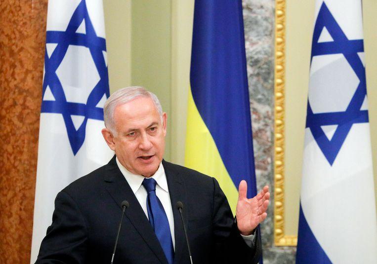 """De Israëlische premier Benjamin Netanyahu waarschuwt Iran: """"Iran heeft nergens immuniteit."""" Beeld EPA"""
