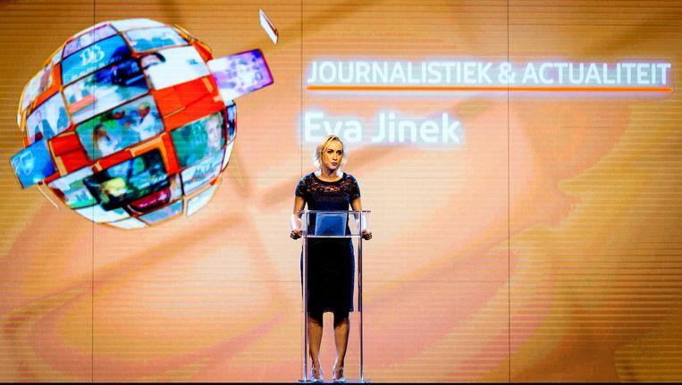 Eva Jinek tijdens de presentatie van de plannen van het televisieseizoen 2016-2017 van de NPO. Beeld anp