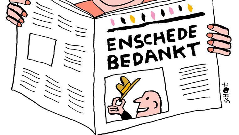 Een dikke pluim van Jan Pijpker voor de behulpzame inwoners van Enschede. Beeld Bas van der Schot