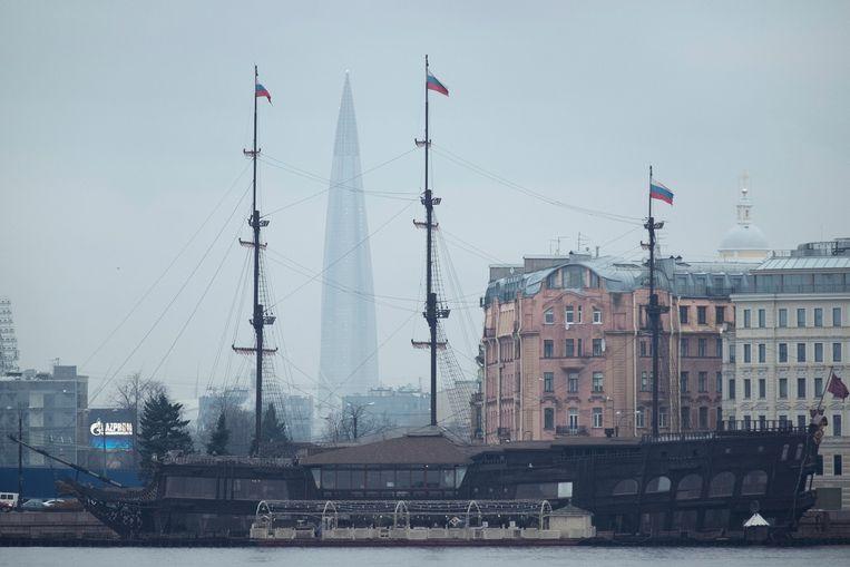 De Lakhta-toren bepaalt de skyline van Sint-Petersburg. Beeld null