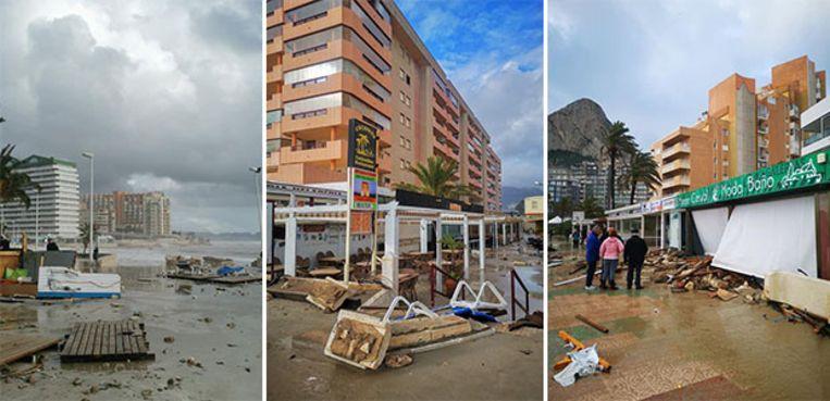 De schade in de Spaanse kustplaats Calpe is aanzienlijk.