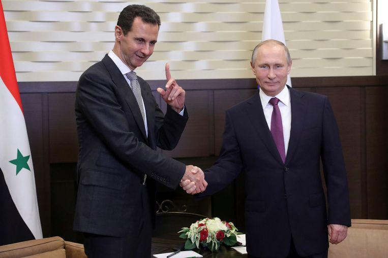 De Syrische president Bashar Assad en de Russische president Vladimir Poetin eerder deze week in Sotsji.