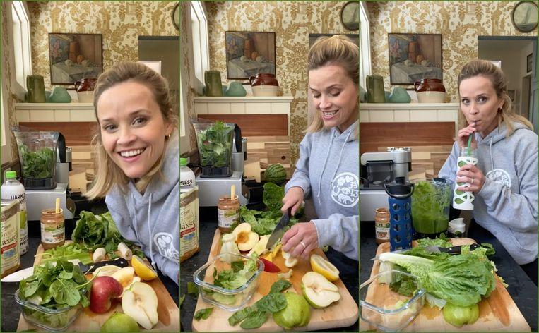 Actrice Reese Witherspoon drinkt al negen jaar lang elke ochtend dezelfde smoothie voor een mooiere huid.