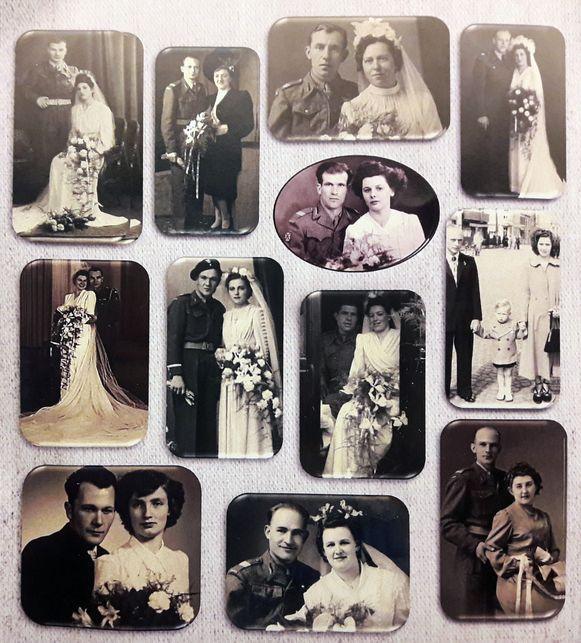 Een collectie trouwfoto's van de Poolse veteranen die in Beveren zijn blijven hangen.